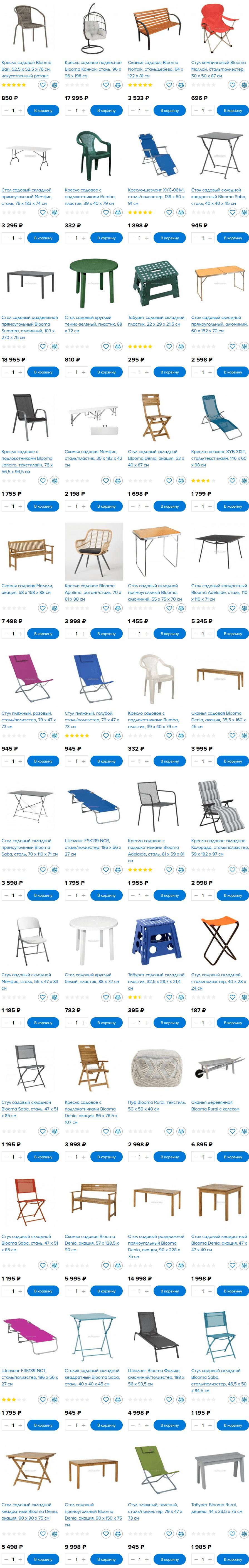 Столы, стулья, кресла и скамейки